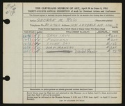 Entry card for Ross, George M. for the 1952 May Show.