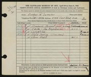 Entry card for Samolar, Esther R. for the 1952 May Show.