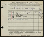 Entry card for Savas, James G. for the 1952 May Show.