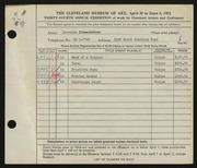 Entry card for Schmeckebier, Laurence Eli for the 1952 May Show.