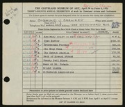 Entry card for Shawkey, Sigmund for the 1952 May Show.