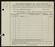 Entry card for Sherwin, Kathleen Burke for the 1952 May Show.