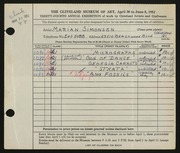 Entry card for Simonsen, Marian for the 1952 May Show.