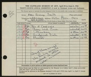 Entry card for Smith, Anne Jessop for the 1952 May Show.