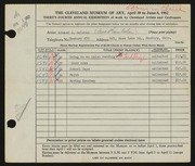 Entry card for Solotko, Edward J. for the 1952 May Show.