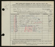 Entry card for Travis, Paul Bough for the 1952 May Show.