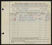 Entry card for Voglein, Nick for the 1952 May Show.