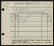 Entry card for Walsh, Grace for the 1952 May Show.