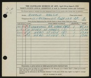 Entry card for Walsh, Ronald for the 1952 May Show.
