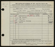 Entry card for Weiner, Bernard for the 1952 May Show.