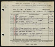 Entry card for Wilkenloh, Lillian for the 1952 May Show.
