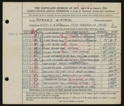 Entry card for Winter, H. Edward for the 1952 May Show.