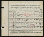 Entry card for Winter, Thelma Frazier for the 1952 May Show.