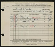 Entry card for Woide, Robert E. for the 1952 May Show.