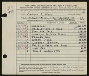 Entry card for Wood, Kenneth A. for the 1952 May Show.