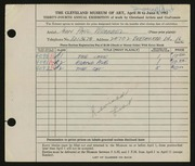 Entry card for Wrobbel, John Paul for the 1952 May Show.
