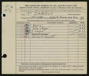 Entry card for Zaboly, T. J. for the 1952 May Show.