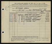 Entry card for Abell, Richard Arthur for the 1953 May Show.