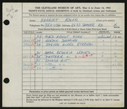 Entry card for Adler, Harriet for the 1953 May Show.