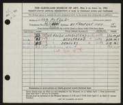 Entry card for Alfoldi, Clara for the 1953 May Show.
