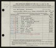 Entry card for Andres, Richard for the 1953 May Show.