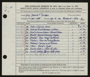 Entry card for Andrews, Mary Adelaide Fulton for the 1953 May Show.