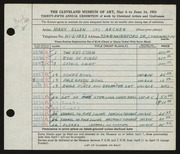 Entry card for Archer, Mary Ellen T. for the 1953 May Show.
