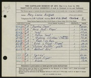 Entry card for Babjak, Mary Louise for the 1953 May Show.
