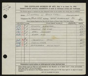 Entry card for Bachtel, Clayton J. for the 1953 May Show.