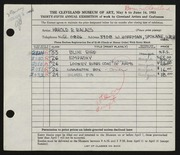 Entry card for Balazs, Harold R. for the 1953 May Show.
