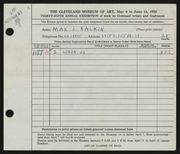 Entry card for Balkin, Max J. for the 1953 May Show.