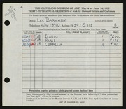 Entry card for Barnaby, Lee for the 1953 May Show.