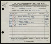 Entry card for Beregi, Charles for the 1953 May Show.
