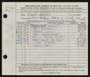 Entry card for Bidner, Robert for the 1953 May Show.