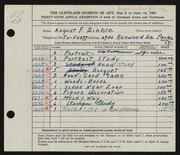 Entry card for Biehle, August F. for the 1953 May Show.