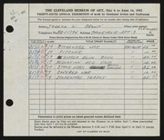 Entry card for Brown, Joseph W. for the 1953 May Show.