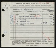 Entry card for Brucker, Edmund for the 1953 May Show.