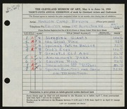 Entry card for Bryson, Marion Camp for the 1953 May Show.