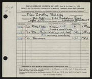 Entry card for Bulkley, Dorothy for the 1953 May Show.