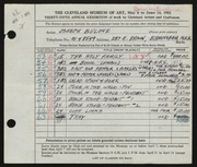 Entry card for Bulone, Joseph  for the 1953 May Show.