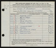 Entry card for Buschmann, Gladys F. for the 1953 May Show.