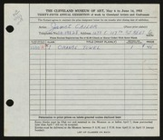 Entry card for Cailor, Janet for the 1953 May Show.