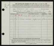 Entry card for Cain, Marjorie Ann for the 1953 May Show.