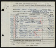 Entry card for Chapman, Anne for the 1953 May Show.