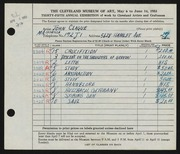 Entry card for Clague, John for the 1953 May Show.