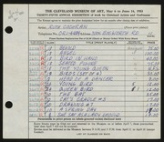Entry card for Cochran, Ruth for the 1953 May Show.