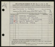 Entry card for Collens, Clarence L. for the 1953 May Show.