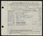 Entry card for Combes, Willard Wetmore for the 1953 May Show.