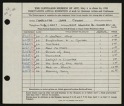 Entry card for Cowan, Charlotte Jaffe for the 1953 May Show.