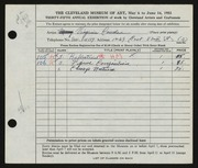 Entry card for Cowden, Virginia for the 1953 May Show.